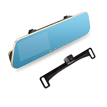 AUTO-VOX M2 1080P HD Dual lens Rearview Mirror Dash Cam with Car Recorder on