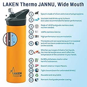 Laken Jannu Kids Insulated Stainless Steel Water Bottle with Straw Cap and Handle 12oz Red