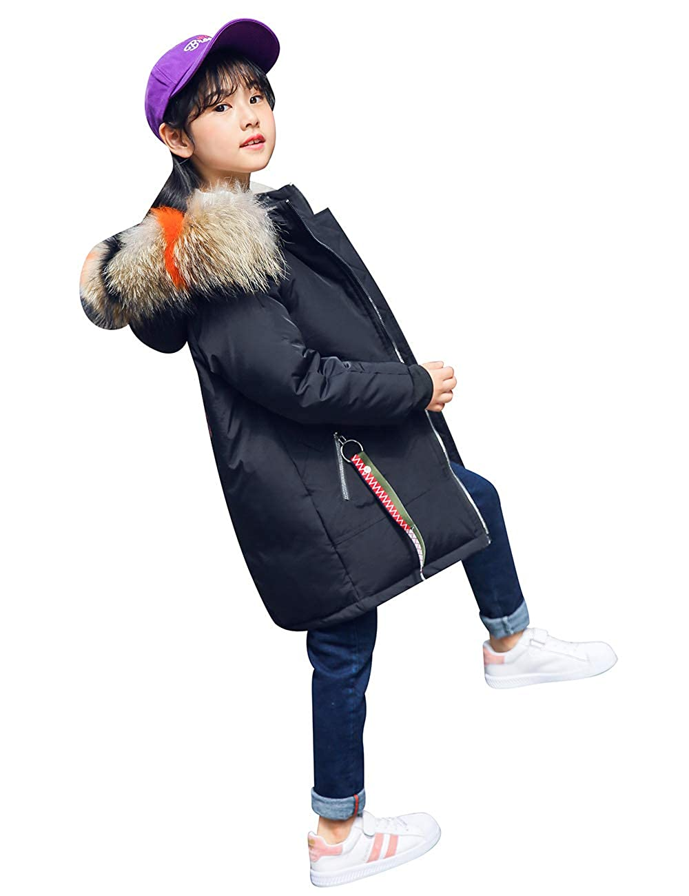 MOKAYA Girls Down Fur Hooded Zipper Jacket Winter Warm Outwear Winter Coat