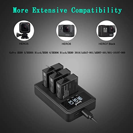 /& Rapid 3-Channel LED Charger Compatible with Gopro Hero 5 Asperx GoPro Hero 5 Replacement Battery Hero 6 and Hero 7 3-Pack