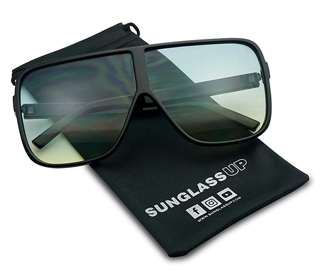 ce095ee5168 Amazon.com  Oversized Flat Top Square Round Two Tone Flat Color Lens Aviator  Sunglasses (Black Blue Yellow Lens