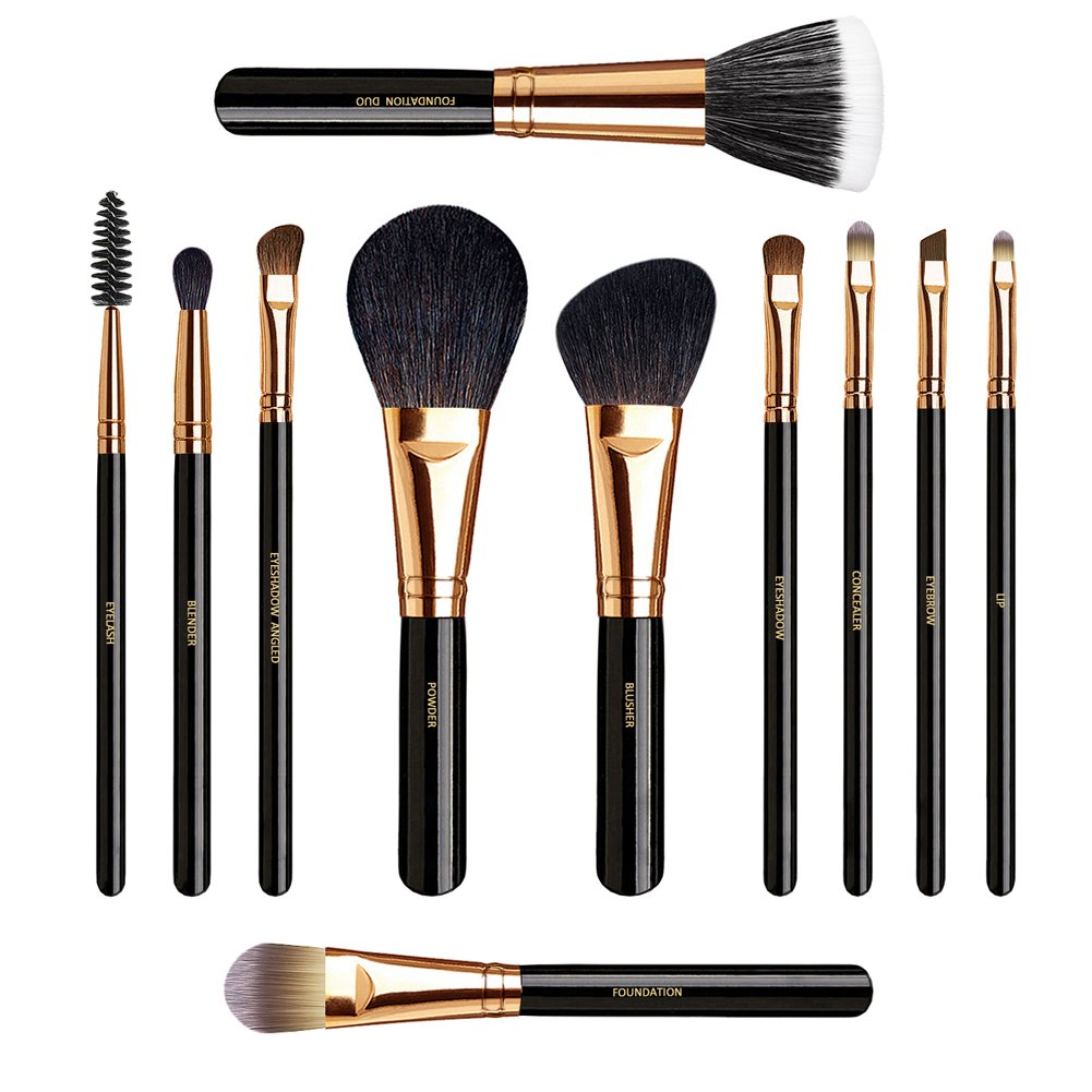 GOTTA Makeup Brushes Set 11 Pieces Professional Cosmetic Tools Soft Goat Hair Fiber with Portable Organizer Bag, Rose Golden