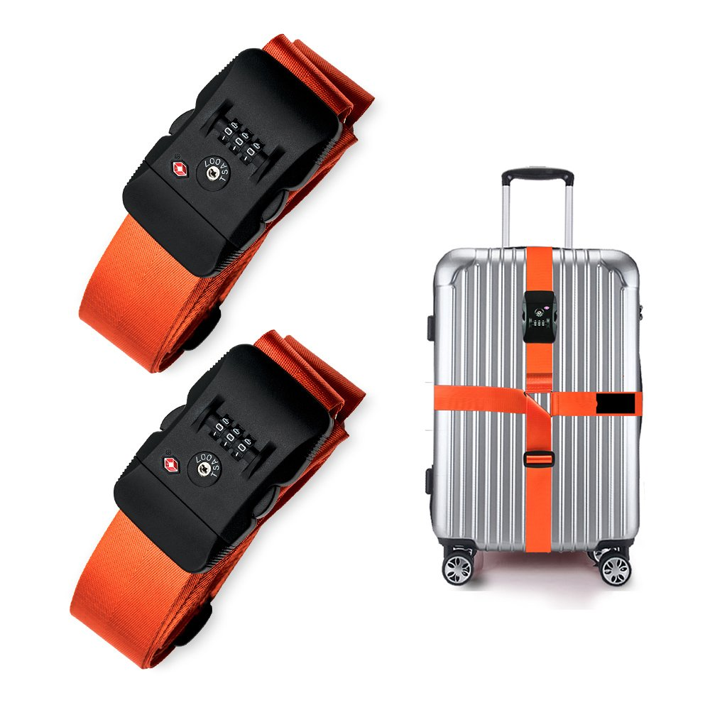 2 Packs Long Travel Luggage Strap Packing Belt Suitcase Bag Security Straps with Clip Colorized