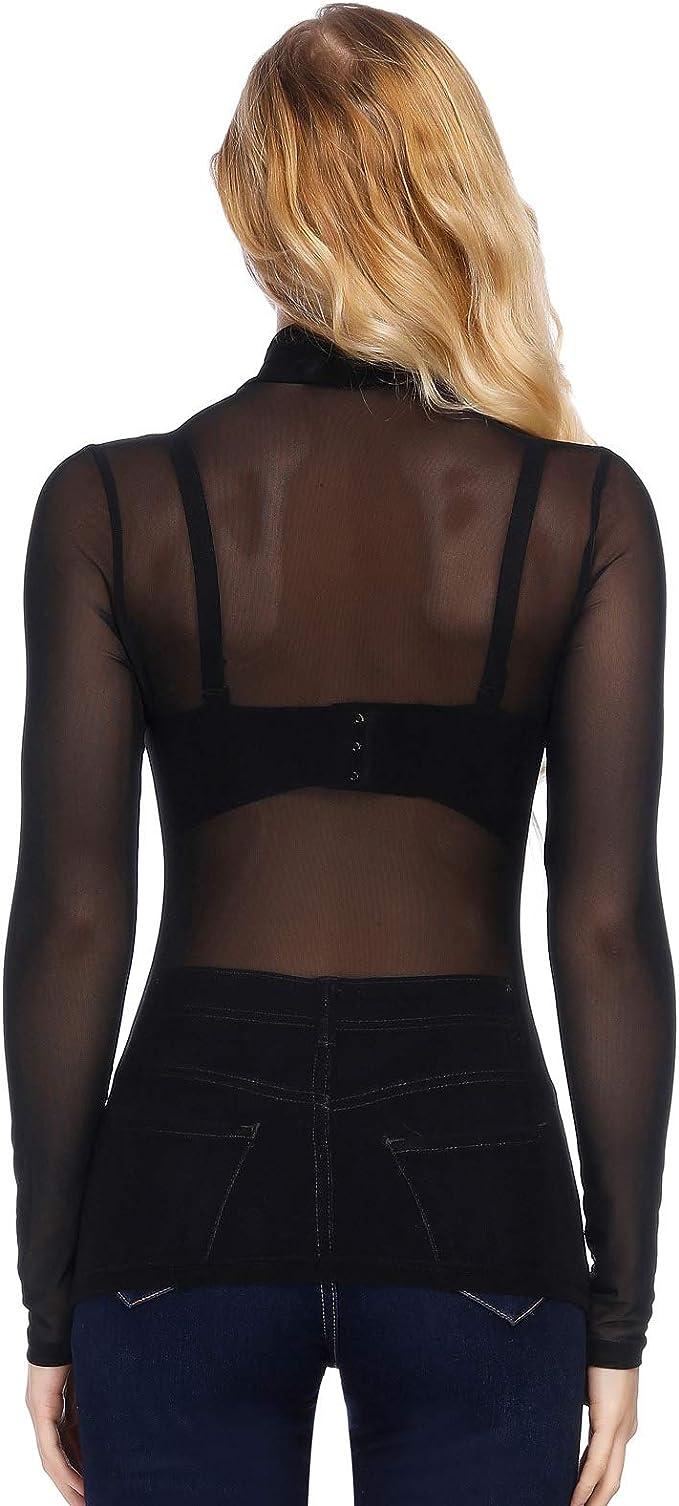 Kate Kasin Donna Prospettiva T-Shirt Collo Alto a Manica Lunga Trasparente Camicia Casual