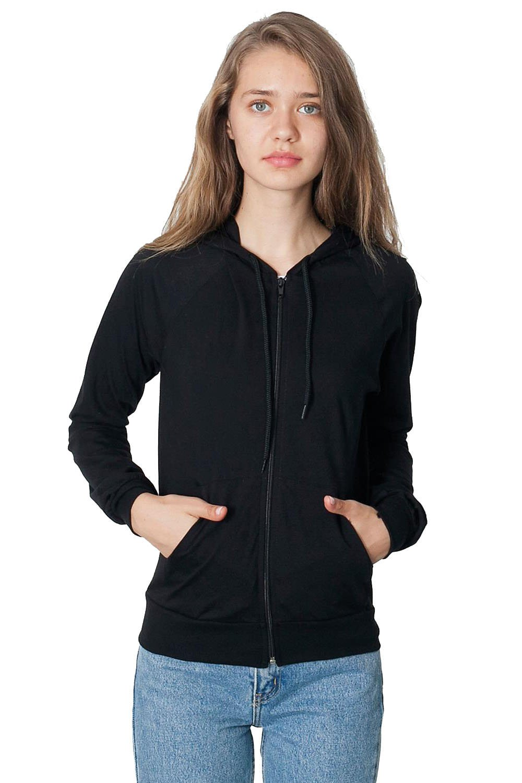 American Apparel Unisex Fine Jersey Zip Hoodie - Black White/XS - Black - S