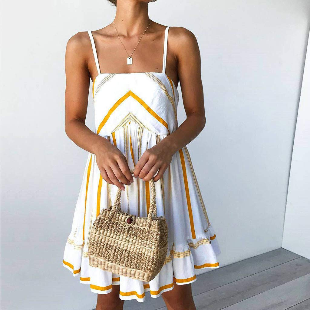Casual Loose Dress for Women Holiday Summer Striped Print Sleeveless Party Beach Dress