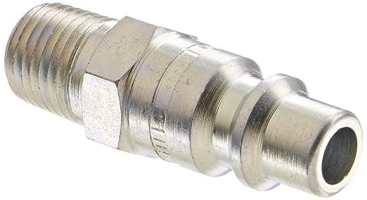 1//4-18 NPTF Male 1//4 Port Size Plug 3//8 Body 1//4-18 NPTF Male 1//4 Port Size 3//8 Body Eaton Hansen 40 Steel Tru-Flate Interchange Ball Lock Pneumatic Fitting