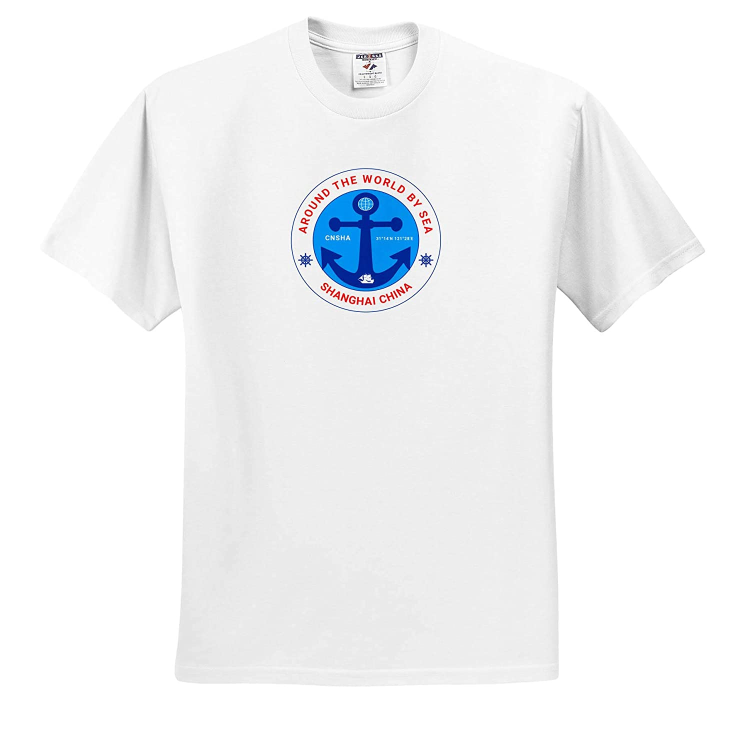 Anchor Around The World by Sea Round Badge Coordinates The red Text Shanghai China T-Shirts 3dRose Alexis Design