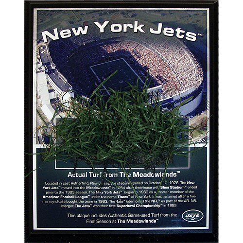 New York Jets Memorabilia - Steiner Sports NFL New York Jets Jets Meadowlands Game-Used Turf Plaque