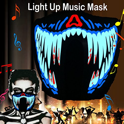 Dark Helmet Halloween Costumes (flashingworld Music LED Party Mask With Sound Active For Dancing,Riding,Skating,Party and any Festival (Blood Teeth-Mask))