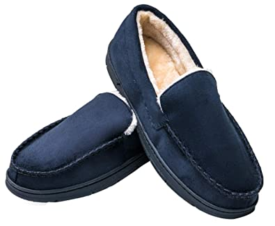MIXIN Mens Casual Indoor Outdoor Comfortable Driving Moccasins Warm Lining Slippers Anti Slip Rubber Sole Loafers