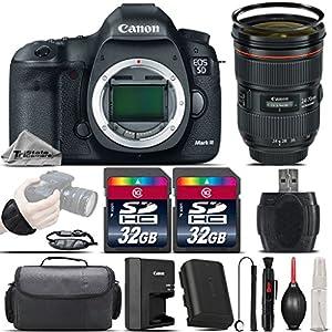 Canon EOS 5D Mark III DSLR Full Frame 22.3MP Camera + Canon EF 24-70mm f/2.8L II USM Lens + 64GB Storage + Wrist Grip Strap + Case + UV Filter + Card Reader + Air Cleaner - International Version