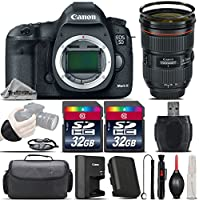 Canon EOS 5D Mark III DSLR Full Frame 22.3MP Camera + Canon EF 24-70mm f/2.8L II USM Lens + 64GB Storage + Wrist Grip Strap + Case + UV Filter + Card Reader + Air Cleaner - International Version