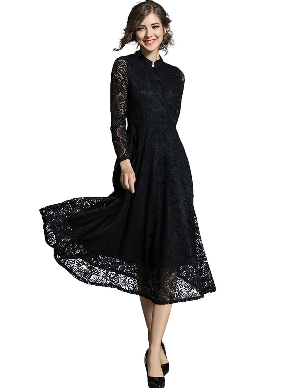 e544cd77e77ae イノ)Yino ワンピース ドレス 結婚式 黒 パーティードレス 総レース 大きいサイズ マキシ