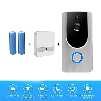 MOMAMO Wi-Fi Timbre de Video, Inalámbrico Videoportero 720P HD, con Audio Bidireccional