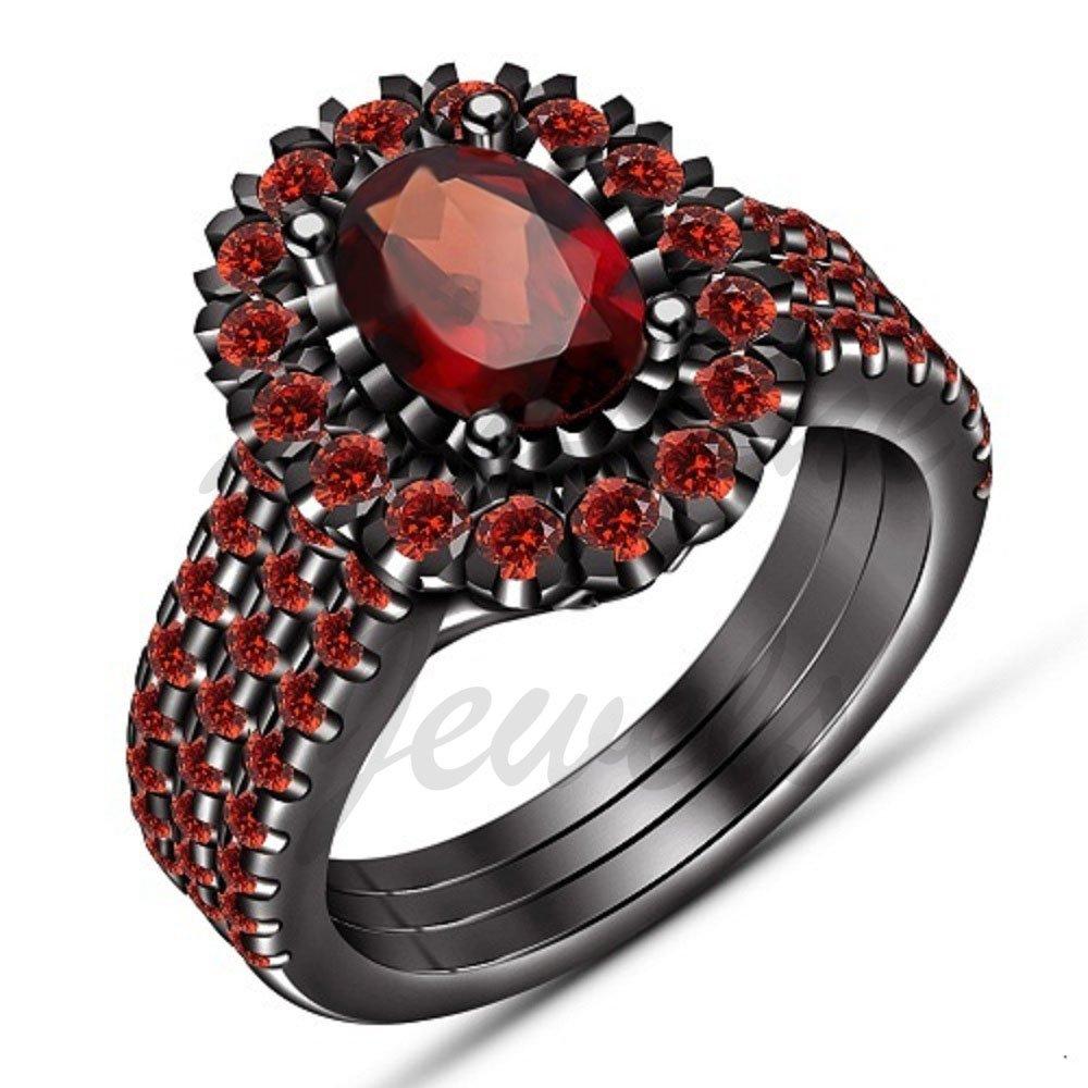 ArtLine Jewels 1.49 Ctw Oval Cut Red Garnet 14K Black Gold Finish Engagement Band Wedding Trio Ring Set