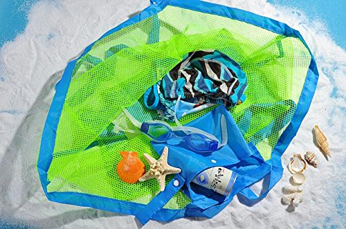 Beach Mesh Tote Bag - Beach Toys/Shell Bag Stay Away from Sand for the Beach, Pool, Boat - Perfect for Holding Childrens' Toys(Blue) by ISADENSER (Image #4)