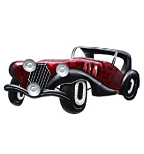 Collectible India Vintage Style Rustic Metal Red Car Jeep Wall Mounted Hanging Interior Antique Design Showpiece Arts Sculpture(Size 51 x 25 Inches)