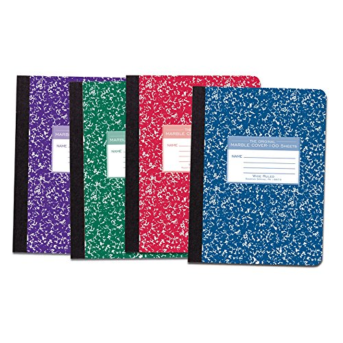 Roaring Spring Asst Color Cover Composition Book, 9 3/4'' x 7 1/2'', Wide Ruled, 100 sheets, 4/pack by Roaring Spring