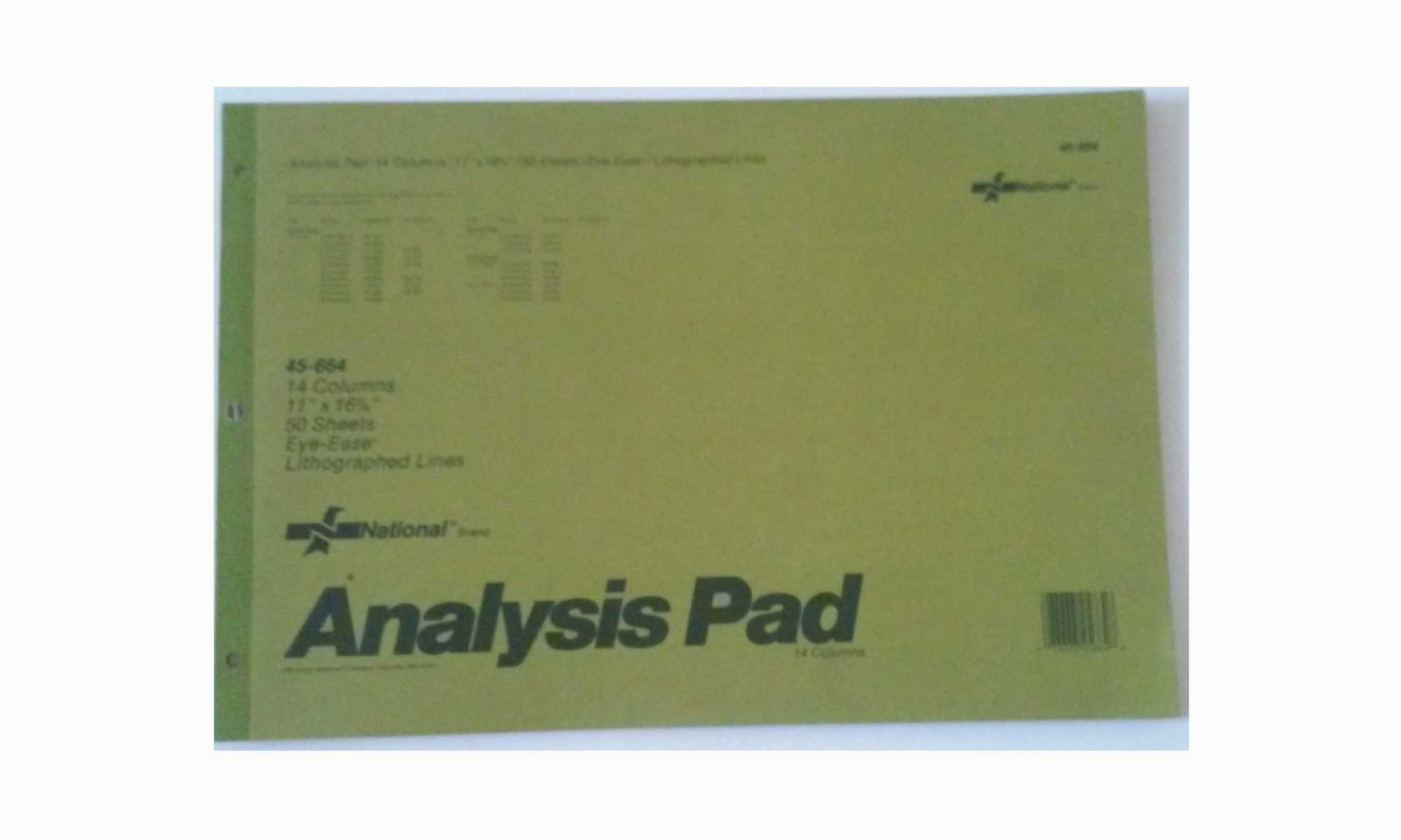 National 45-664 Analysis Pad 14 Columns 11'' x 16 3/8'' 50 Sheets Lined
