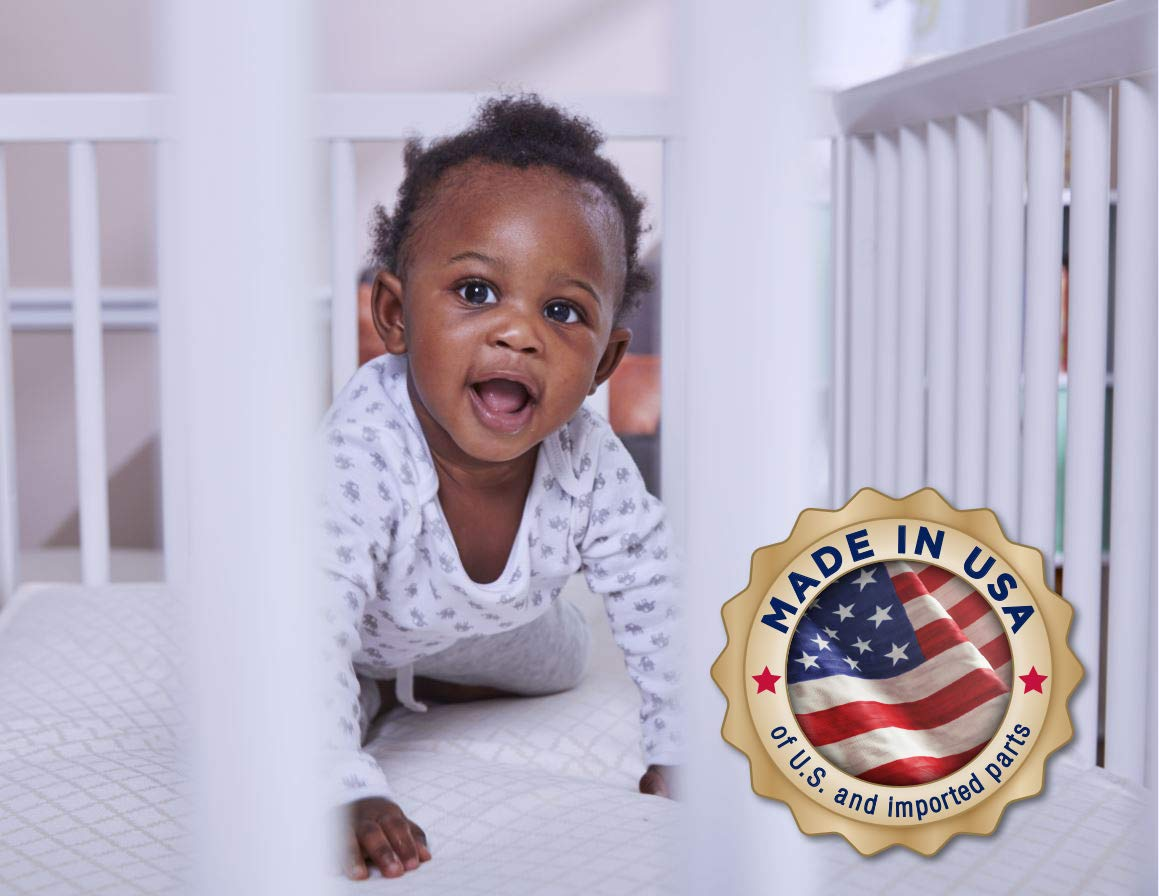 """Firmer Infant Side 51.7/""""x27.3 Secure Edges Allergy Barrier Waterproof Cotton Cover Sealy Cotton Cozy Rest 2-Stage Toddler /& Baby Crib Mattress 204 Premium Coils"""