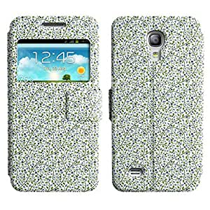 Be-Star Colorful Printed Design Slim PU Leather View Window Stand Flip Cover Case For Samsung Galaxy S4 mini / i9190 / i9192 ( Flowers With Leaves ) Kimberly Kurzendoerfer