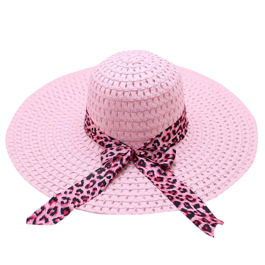 WUAI Womens Wide Brim Straw Hats Leopard Print Sun hat Folding Travel Beach Cap(Pink,Free size)