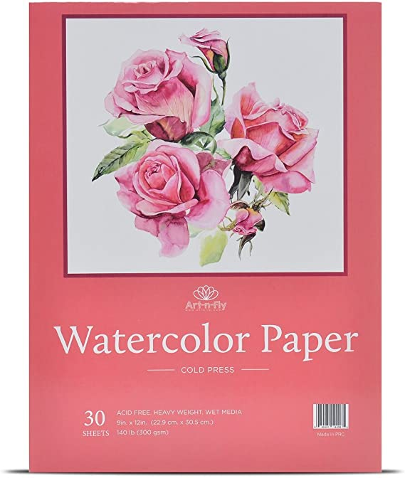 30 Sheets 9 X 12 Watercolor Paper (140lb/300gsm) Fold Over Design Cold Press Watercolor Pad