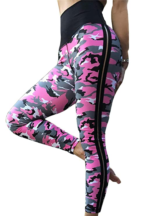 2dd233b3a0a1d5 Women's High Waisted Bottom Scrunch Leggings Ruched Camouflage Yoga Pants  Push up Butt Workout Capris at Amazon Women's Clothing store: