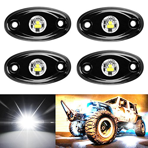 Amak 4 Pods LED Rock Light Kit for Jeep ATV SUV Offroad Car Truck Boat Underbody Glow Trail Rig Lamp Underglow LED Neon Lights Waterproof - White