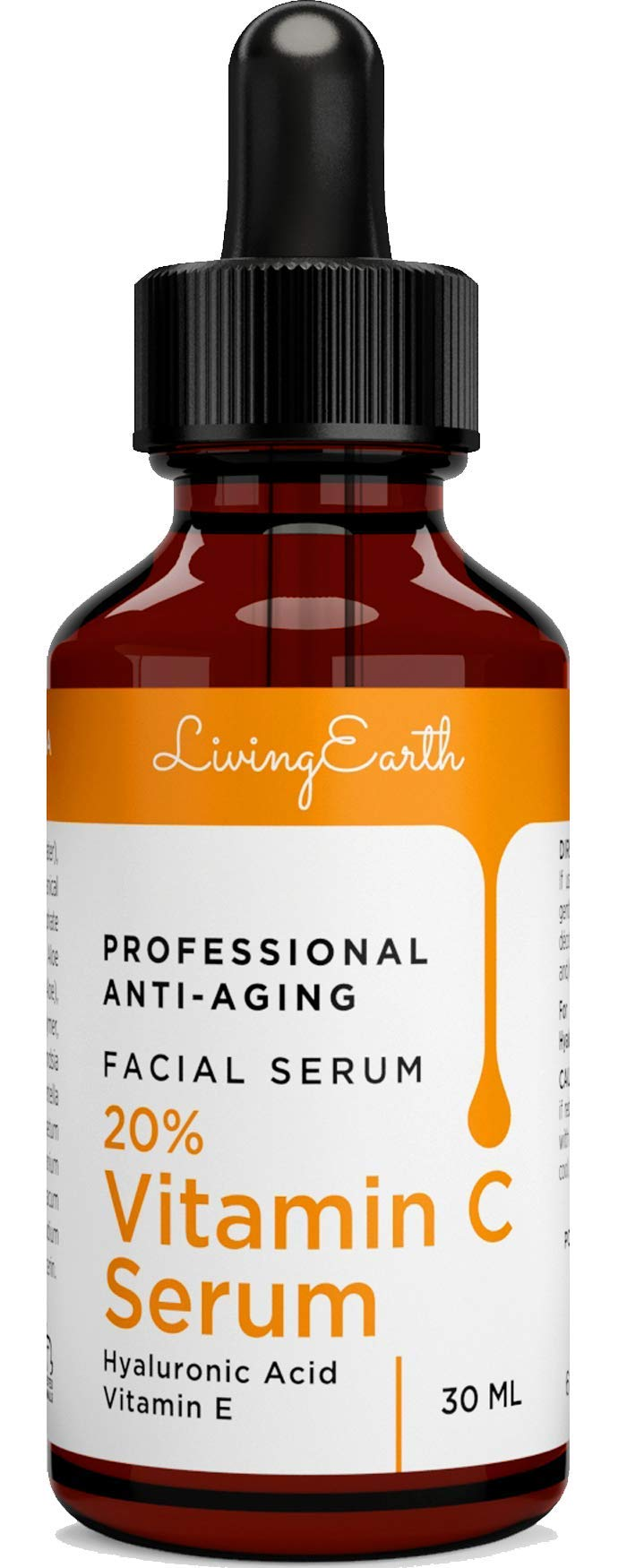 Vitamin C Serum with Hyaluronic Acid for Face, Eyes and Neck - Organic Skin Care and All Natural Ingredients - Best Professional Anti Aging, Anti Wrinkle, Fade Age Spots and Heal Sun Damage, 1 oz - M