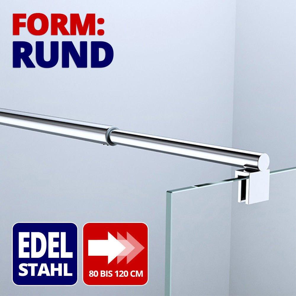 Paroi de douche pare-douche verre de securite transparent 10mm barre de stabilisation rectangulaire douche a l italienne Bremen2 90x200cm