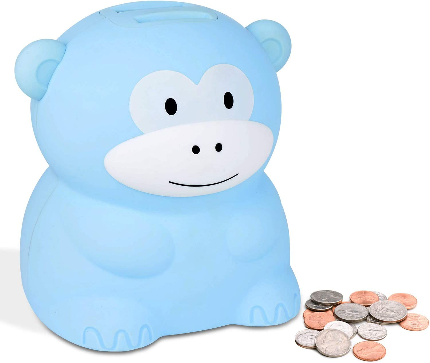 Lefree Kids Coin Bank,Digital Piggy Bankwith LCD Display for Children or Friends,Powered by 2 AA Battery (Not Included),Adorable Money Counting Coin Bank(Blue Monkey,US)