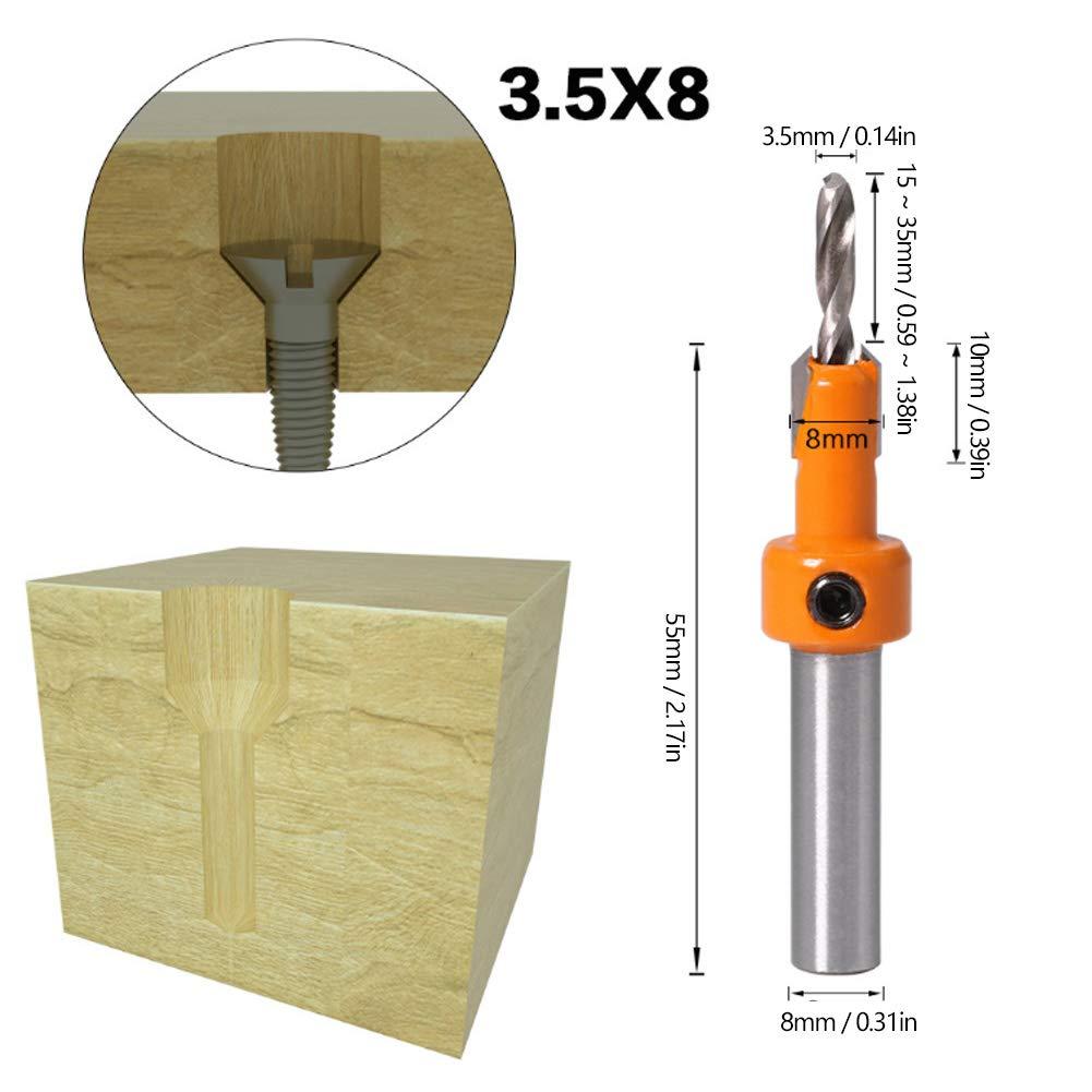 Broca de avellanado herramienta de carpinter/ía de broca avellanada de 5 piezas para apertura de aleaci/ón de aluminio de madera