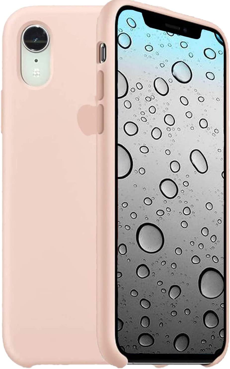 Liquid Silicone Case Compatible for iPhone XR, Simple Style Full Body Protection Compatible with iPhone XR 6.1 Inch - Pink Sand