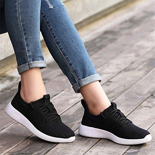 iceunicorn Zapatillas de running de malla para hombre Athletic zapatos de senderismo gimnasio deporte correr zapatos Black-3