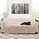DriftAway Water Resistant Quilted Sofa Cover Furniture Protector Slipcover for Dogs, Kids, Pets -, Beige (Sofa)