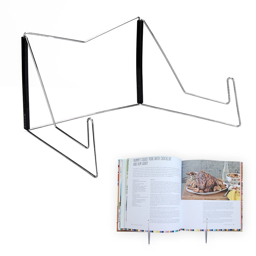 Cookbook Stand,Black Fold-n-Stow Metal Cook Bookstand,Music Book Easel Display Holder,Adjustable Reading Stand,Small Cook Book Rest for Kitchen Counertops,Bookrest for Hardcover Textbook,Ipad,Document