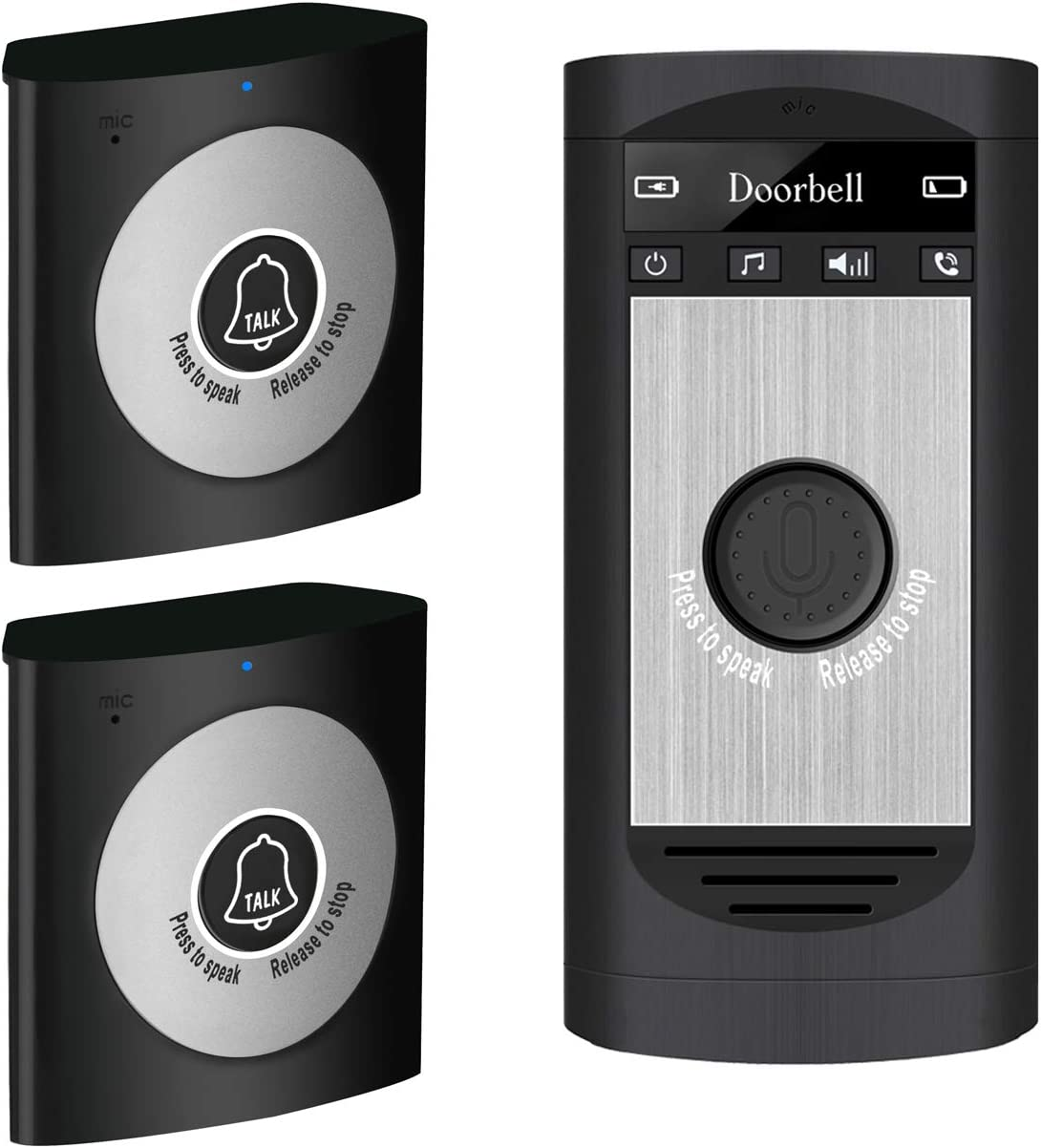 (2020 Updated) Napok Wireless Intercom Doorbell for Home, Wireless Voice Doorbell Support Two Way Voice Intercom for Home and Office, One Transmitter with Two receivers for Elderly Black H7A