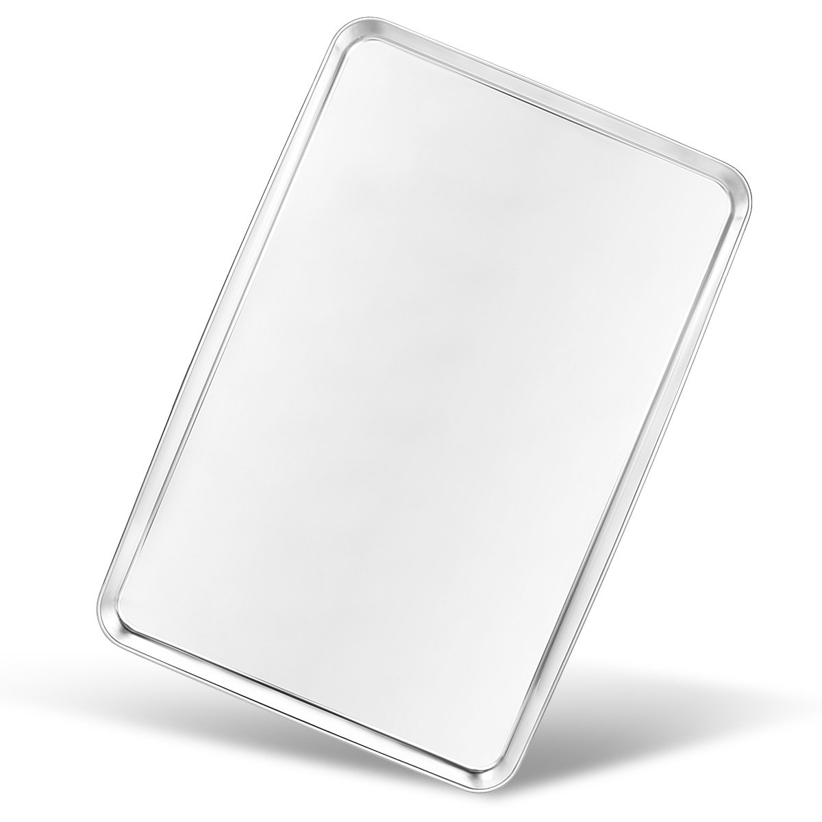 Bastwe Baking Sheet, Stainless Steel Large Cookie Sheet Toaster Oven Baking Pan, Rectangle Size 24×16×1 inch, Non Toxic & Healthy, Superior Mirror Finish & Rustproof, Dishwasher Safe & Easy Clean