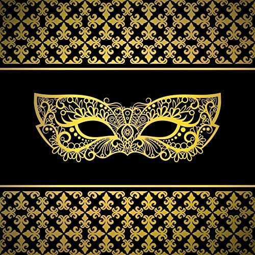 Masked Ball Backdrop 7x7ft Golden Mask Polyester Photography Background Mardi Gras Luxury Elegant Mask Costume Ball Purim Holiday Festival Celebrate Carnival Party Portraits Shoot Poster Decor