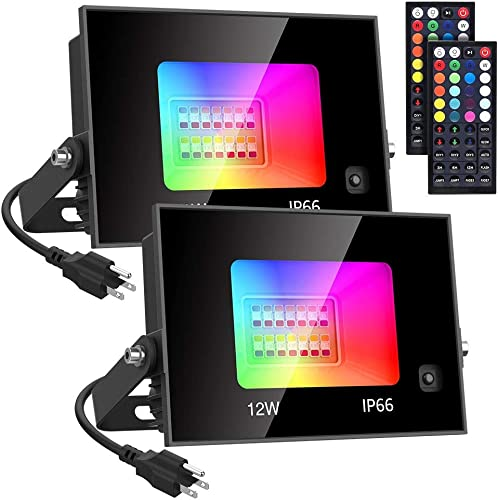 Olafus 12W RGB Flood Lights, 2 Pack 100W Equivalent Color Changing Lighs with 44 Keys Remote Control, IP66 Waterproof Outdoor Indoor RGB Lights, Dimmable Wall Washer Light for Party, Wedding, Stage
