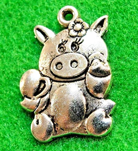 10Pcs Tibetan Silver Cute Miss Piggy Pig Charms Pendant Ear Drops Findings A Charms DIY Crafting by WCS