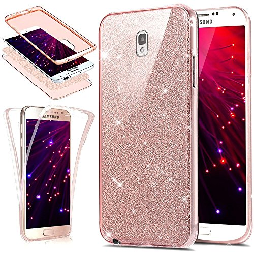Galaxy Note 3 Case,Note 3 Glitter Case,PHEZEN [Front and Back 360 Full-Body Coverage Protective] Bling Glitter Slim Thin TPU Rubber Soft Skin Silicone Case Cover For Samsung Galaxy Note 3 (Pink)