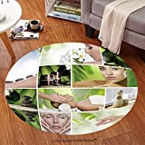 sophiehome Soft Carpet 76276207 Spa theme photo collage composed of different images Anti-skid Carpet Round 34 inches