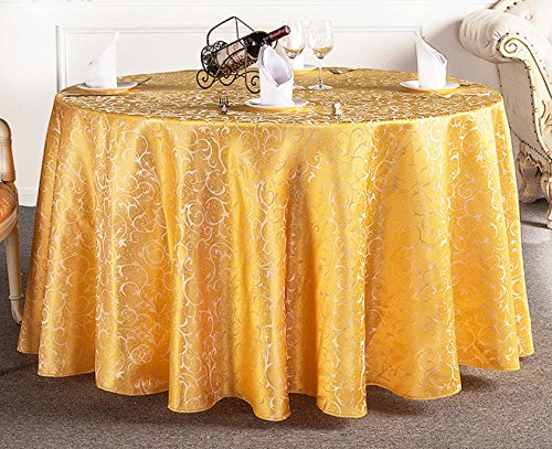 (Uforme Tabletop Decor Woven Fabric Table Cloth Damask Pattern Overlay Table Cover 90-Inch Round for Banquet, Gold)