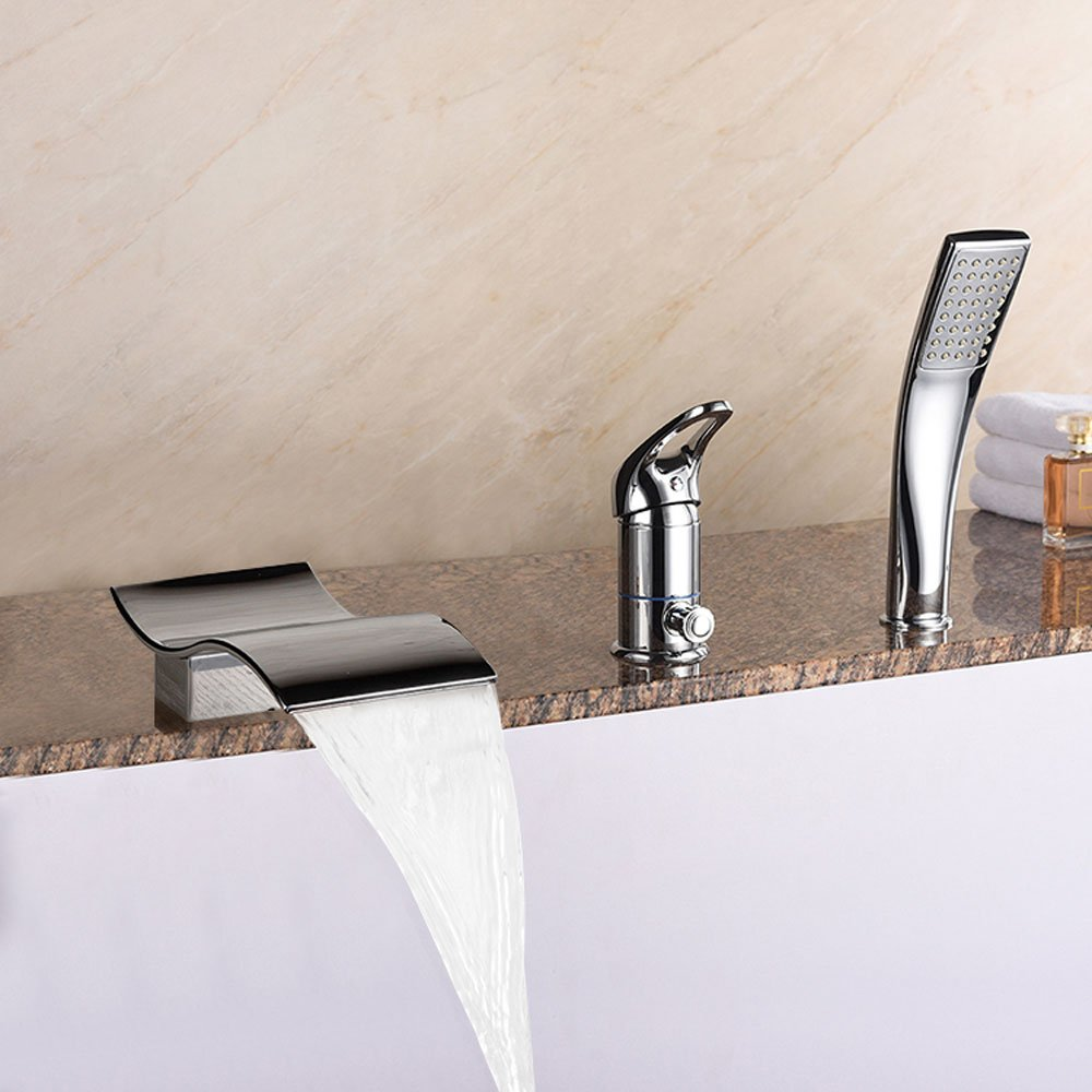 WYQLZ High-end Fashion Home Bathroom Waterfall Three-piece Bath Faucet Shower