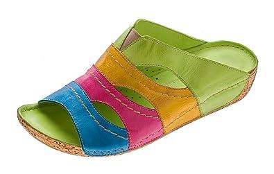 DAMEN PANTOLETTEN CLOGS Schuhe Latschen Gemini Sandalen echt