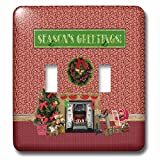 3dRose Beverly Turner Christmas Design - Christmas Room, Fireplace, Tree, Toys, Seasons Greetings - Light Switch Covers - double toggle switch (lsp_267931_2)