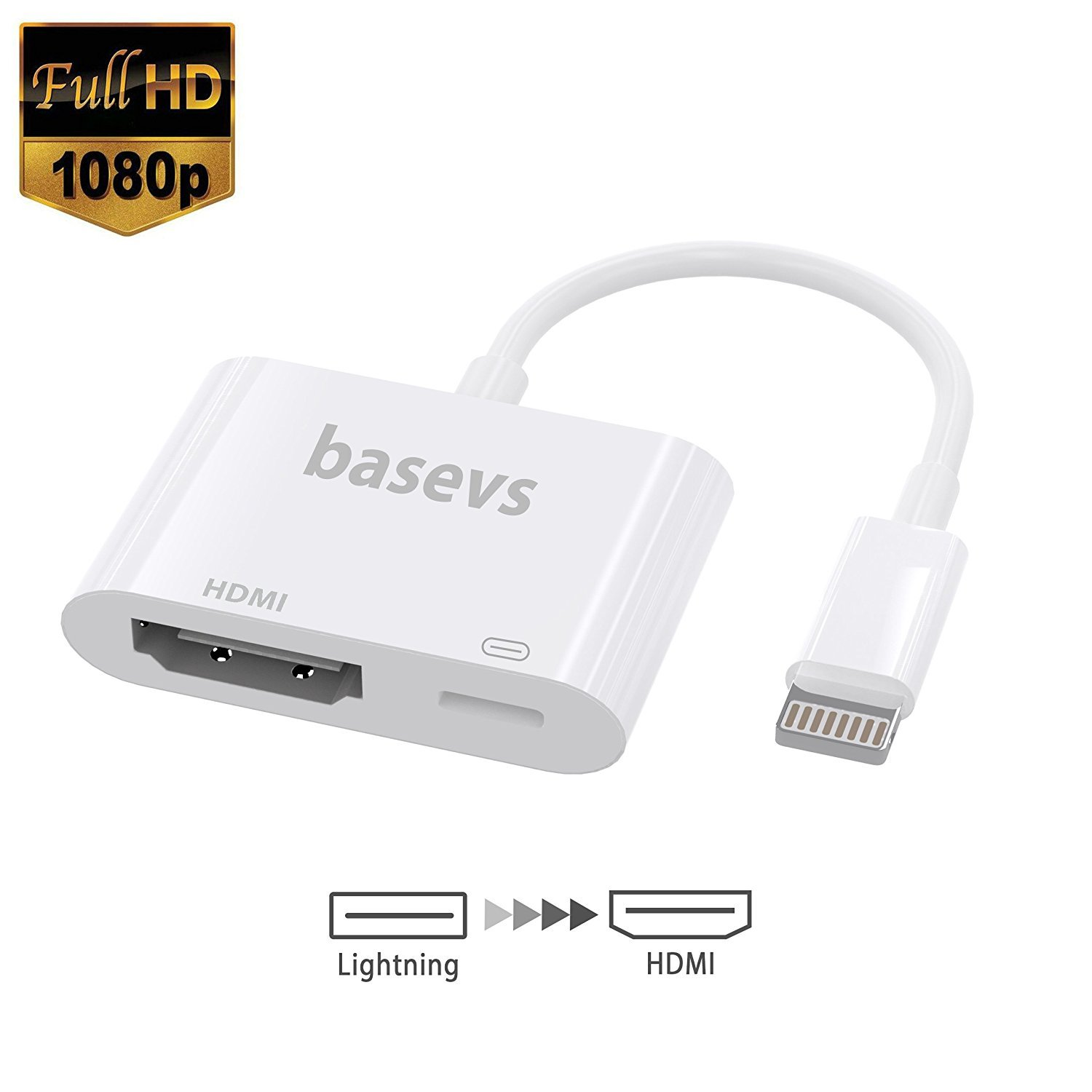 Basevs Lightning to HDMI, Lightning Digital AV Adapter with Lightning 8Pin Charging for HDTV 1080P Monitor Projector for iPhone, iPad and iPod